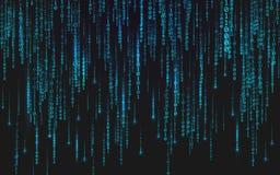 Binaire matrijsachtergrond Dalende cijfers op donkere achtergrond Lopende random numbers Abstract gegevensconcept Blauw stock illustratie