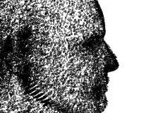Binaire Mens. Menselijk gezicht dat uit nul en degenen wordt samengesteld Stock Foto