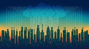 Binaire regen in digitale abstracte stad, de stroom van gegevens met de wolk, high-tech achtergrond Stock Foto