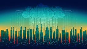 Binaire regen in digitale abstracte stad, de stroom van gegevens met de wolk, high-tech achtergrond, naadloze lijn vector illustratie