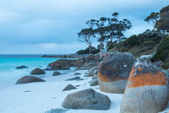 Binalong Bay. Rocks decorated with red lichen contrast the calm blue sea at Binalong Bay in the Bay of Fires National Park, Tasmania Stock Image