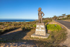 Binalong Bay Welcome. Statue of girl in bikini welcomes visitors to Binalong Bay, East Coast, Tasmania, Australia Stock Photo