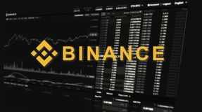 Binance é um mercado de troca da finança Conceito cripto do fundo da moeda ilustração stock