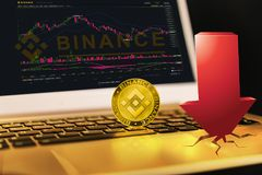 Binance é um mercado de troca da finança Conceito cripto do fundo da moeda imagem de stock royalty free