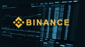 Binance é um mercado de troca da finança Conceito cripto do fundo da moeda fotografia de stock royalty free