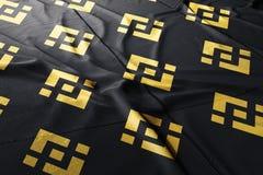 Binance BNB cryptocurrency 3d att framföra flaggan vektor illustrationer