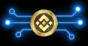 Binance coin BNB cryptocurrency coin with glowing blockchain transaction. Binance coin BNB cryptocurrency gold coin on the background of glowing blockchain stock video
