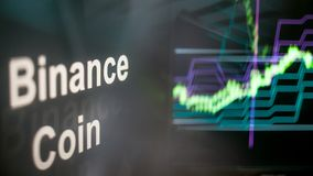 Binance coin Cryptocurrency token. The behavior of the cryptocurrency exchanges, concept. Modern financial technologies. royalty free stock image