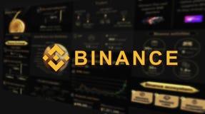 Binance is een markt van de financiënuitwisseling Crypto Munt achtergrondconcept stock afbeeldingen