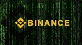 Binance is een markt van de financiënuitwisseling Crypto Munt achtergrondconcept royalty-vrije stock afbeelding