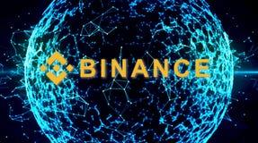 Binance is een markt van de financiënuitwisseling Crypto Munt achtergrondconcept royalty-vrije stock foto's