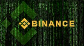 Binance is een markt van de financiënuitwisseling Crypto Munt achtergrondconcept royalty-vrije stock afbeeldingen