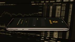 Binance is een markt van de financiënuitwisseling Crypto Munt achtergrondconcept stock foto's