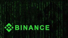 Binance is een markt van de financiënuitwisseling Crypto Munt achtergrondconcept stock afbeelding