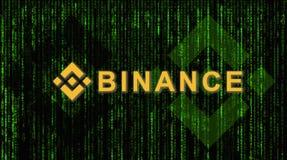 Binance es un mercado de intercambio de las finanzas Concepto Crypto del fondo de la moneda fotos de archivo libres de regalías