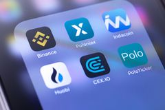 Binance, Poloniex, CEX.IO, Huobi, Indacoin icon apps on the screen. Binance, Poloniex, CEX.IO, Huobi, Indacoin icon apps - is popular largest cryptocurrency stock photography