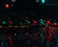 Binari dell'arcobaleno alla stazione del ponte di Londra fotografia stock