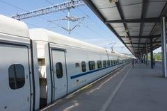 Binari ferroviari cinesi del treno veloce Fotografie Stock