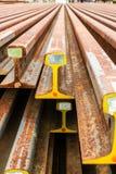 Binari ferroviari d'acciaio Fotografie Stock