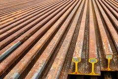 Binari ferroviari d'acciaio Immagine Stock