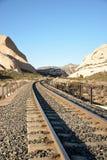 Binari ferroviari del deserto Immagini Stock Libere da Diritti