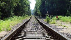 Binari ferroviari piegati, vecchia ferrovia Immagine Stock Libera da Diritti