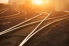 Binari ferroviari vuoti Fotografia Stock Libera da Diritti