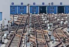 Binari nel deposito del sottopassaggio Kiev, Ucraina Fotografia Stock