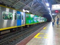 Binario della stazione di Abad Santos LRT1 Fotografie Stock Libere da Diritti