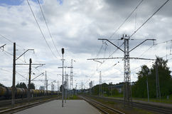 Binario della stazione ferroviaria Fotografie Stock