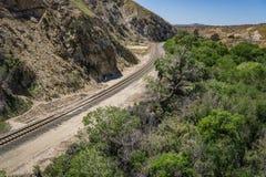 Binario ferroviario in canyon Fotografia Stock Libera da Diritti