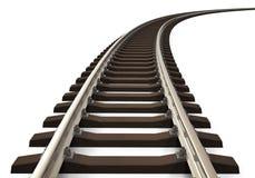 Binario ferroviario curvo Immagini Stock