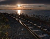 Binario ferroviario di tramonto Fotografia Stock Libera da Diritti