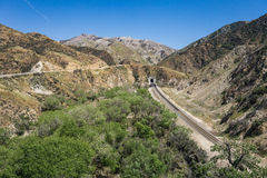 Binario ferroviario e dello strada in deserto Immagine Stock Libera da Diritti