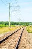 Binario ferroviario nella distanza Fotografie Stock