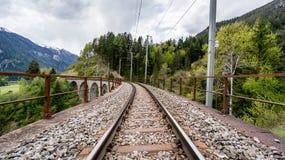 Binario ferroviario sul ponte del viadotto di Landwasser, Svizzera Fotografie Stock Libere da Diritti