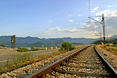 Binario ferroviario vuoto Fotografia Stock