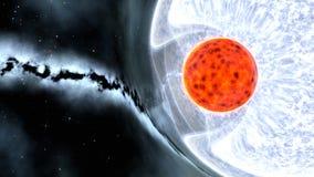 Binarna gwiazda z czerwonym karłem i błękitnym gigantem, 3d odpłaca się ilustracji