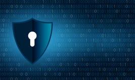 Binarna osłony ochrona i dane prywatności ochrona osłaniamy i blokujemy nad binarnych cyfr tłem ilustracji