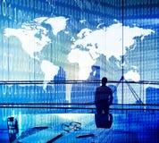 Binarnego kodu kartografii pojęcia ludzie biznesu Obraz Stock