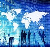 Binarnego kodu kartografii pojęcia ludzie biznesu Fotografia Royalty Free