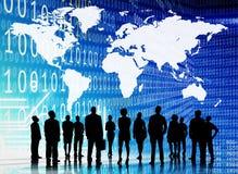 Binarnego kodu kartografii pojęcia ludzie biznesu Zdjęcia Stock
