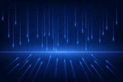 Binarnego obwodu przyszłościowa technologia, błękitny cyber ochrony pojęcia tło, abstrakt prędkości interneta wektoru cyfrowa ilu royalty ilustracja