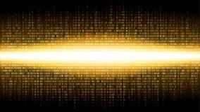 Binarny abstrakcjonistyczny tło z jaskrawym promieniowaniem w cyfrowej przestrzeni, rozjarzona chmura duzi dane, strumień informa ilustracja wektor