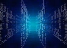 Binarny błękitny komputerowy kod Obraz Stock