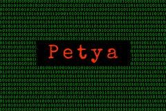 Binarny kod i Petya petya i ransomware pojęcia ochrona Zdjęcie Stock