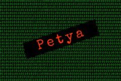 Binarny kod i Petya petya i ransomware pojęcia ochrona Zdjęcie Royalty Free