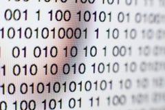 Binarny kod na ekranie komputerowym Zdjęcie Stock