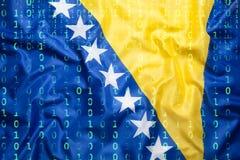Binarny kod z Bośnia i Herzegovina zaznaczamy, dane ochrona co Fotografia Royalty Free