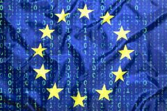 Binarny kod z Europejską Zrzeszeniową flaga Zdjęcie Stock